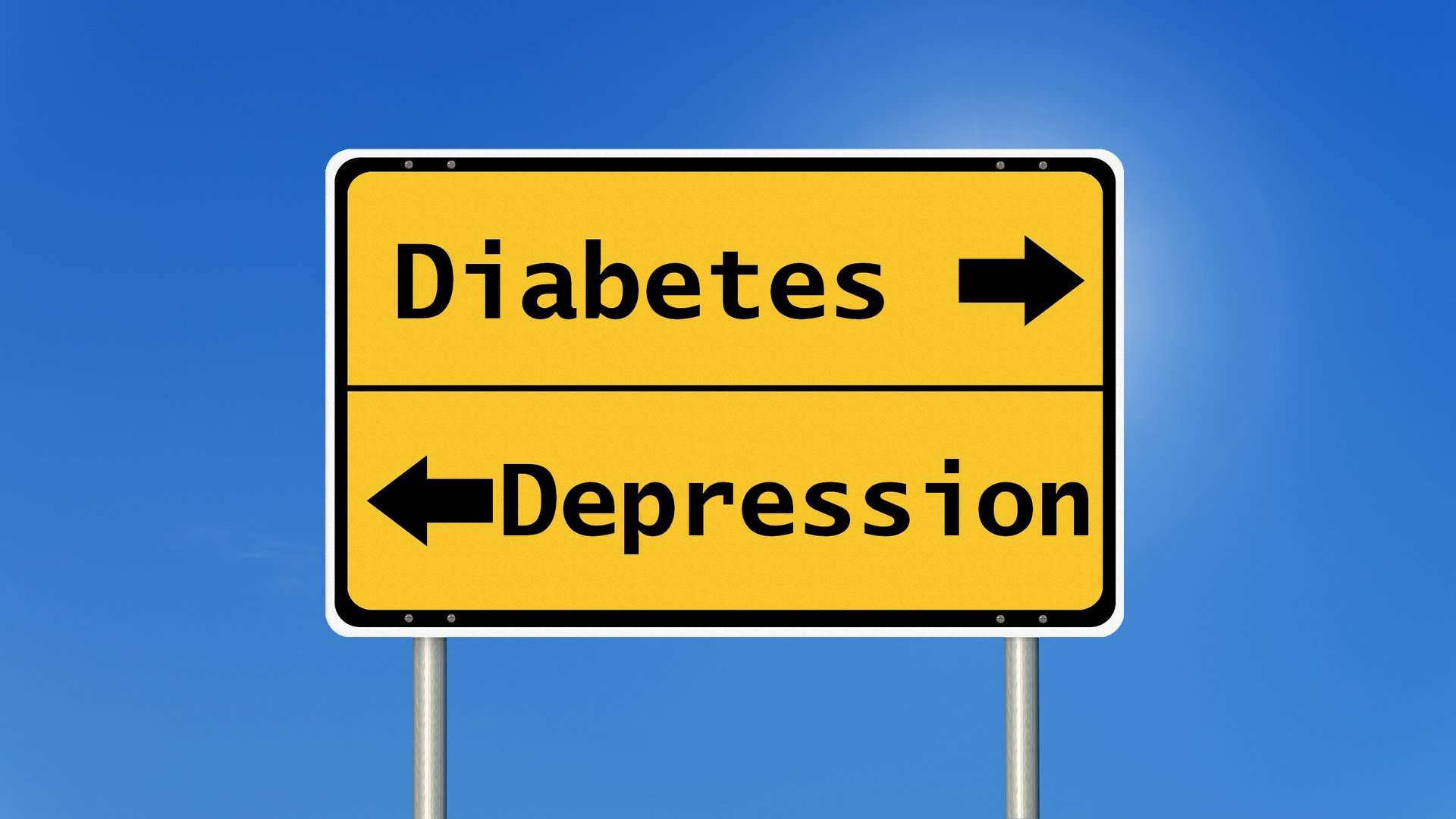 Diabetes mellitus und Depression Schild